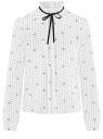 Блузка с декоративными завязками и оборками на воротнике oodji #SECTION_NAME# (белый), 11411091-2/36215/1229D