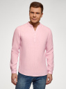 Рубашка льняная без воротника oodji для мужчины (розовый), 3B320002M/21155N/4001N