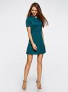 Платье комбинированное с верхом из фактурной ткани oodji #SECTION_NAME# (зеленый), 14000161/42408/6C00N - вид 6