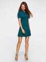 Платье комбинированное с верхом из фактурной ткани oodji для женщины (зеленый), 14000161/42408/6C00N