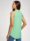 Топ вискозный с нагрудным карманом oodji для женщины (зеленый), 11411108B/26346/6500N - вид 3