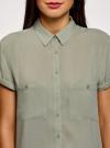 Блузка из вискозы с нагрудными карманами oodji #SECTION_NAME# (зеленый), 11400391-5B/48756/6000N - вид 4