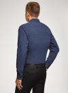 Рубашка хлопковая в мелкую графику oodji #SECTION_NAME# (синий), 3L110376M/19370N/7975G - вид 3