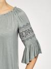 Блузка трикотажная с вышивкой на рукавах oodji #SECTION_NAME# (зеленый), 14207003/45201/6000N - вид 5
