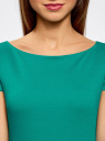 Платье трикотажное с вырезом-лодочкой oodji #SECTION_NAME# (зеленый), 14001117-2B/16564/6D00N - вид 4