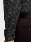 Рубашка базовая приталенная oodji для мужчины (черный), 3B110019M/44425N/2923G - вид 5