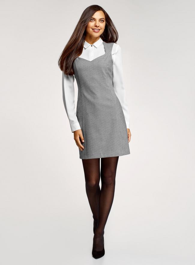 Платье базовое из плотной ткани с сердцевидным вырезом oodji для женщины (серый), 11902160-1/45735/1029G