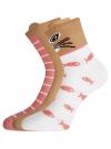 Комплект из трех пар хлопковых носков oodji #SECTION_NAME# (разноцветный), 57102802T3/47469/22 - вид 2