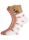 Комплект из трех пар хлопковых носков oodji для женщины (разноцветный), 57102802T3/47469/22 - вид 2