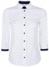 Рубашка хлопковая с рукавом 3/4 oodji #SECTION_NAME# (белый), 11403201-2/26357/1079D