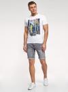 Шорты джинсовые с потертостями oodji #SECTION_NAME# (серый), 6L220021M-1/46627/2300W - вид 6