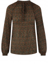 Блузка гофрированная с завязками oodji #SECTION_NAME# (зеленый), 11414005/46166/6C55F