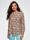 Блузка вискозная А-образного силуэта oodji #SECTION_NAME# (розовый), 21411113B/26346/5470E - вид 2