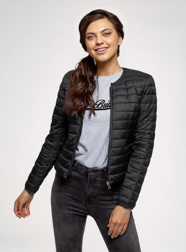 Куртка стеганая на молнии oodji для женщины (черный), 10204074/33445/2900N