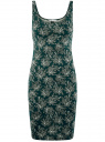 Платье-майка трикотажное oodji #SECTION_NAME# (зеленый), 14015007-3B/37809/6912E