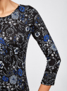 Платье трикотажное с вырезом-капелькой на спине oodji #SECTION_NAME# (черный), 24001070-5/15640/2970F - вид 5