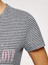 Футболка прямого силуэта с надписью oodji для женщины (серый), 59811026-3/49291/2512S