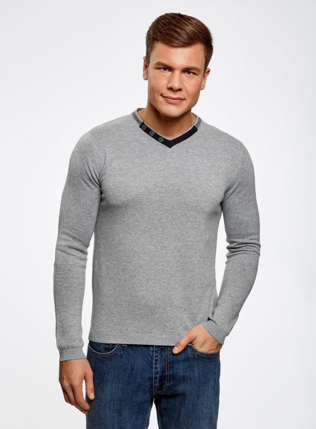 Пуловер с V-образным вырезом и декоративными пуговицами oodji #SECTION_NAME# (серый), 4L212152M-1/47210N/2379B