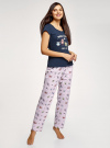 Пижама хлопковая с брюками oodji #SECTION_NAME# (синий), 56002074-1/46158/7941P - вид 6