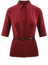 Блузка прилегающего силуэта с ремнем oodji для женщины (красный), 11410013-1B/19678/4900N