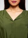 Платье вискозное с ремнем oodji для женщины (зеленый), 11900180/42540/6900N