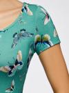 Платье трикотажное с юбкой-трапецией oodji #SECTION_NAME# (зеленый), 14001209-1/42626/6D41U - вид 5