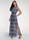 Платье макси с завязкой на поясе oodji #SECTION_NAME# (синий), 24005138/45509/7925E - вид 6