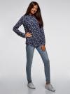 Блузка из вискозы с воротником-стойкой oodji #SECTION_NAME# (синий), 21411063-3B/48458/7970F - вид 6
