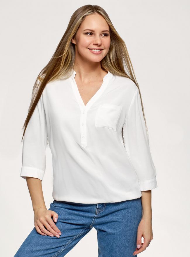Блузка вискозная с рукавом-трансформером 3/4 oodji для женщины (белый), 11403189-3B/26346/1200N