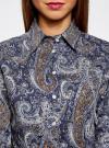 """Рубашка хлопковая с принтом """"пейсли"""" oodji #SECTION_NAME# (синий), 21402212-1/45966/7933E - вид 4"""