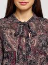 Платье шифоновое с асимметричным низом oodji #SECTION_NAME# (черный), 11913032/38375/2966E - вид 4