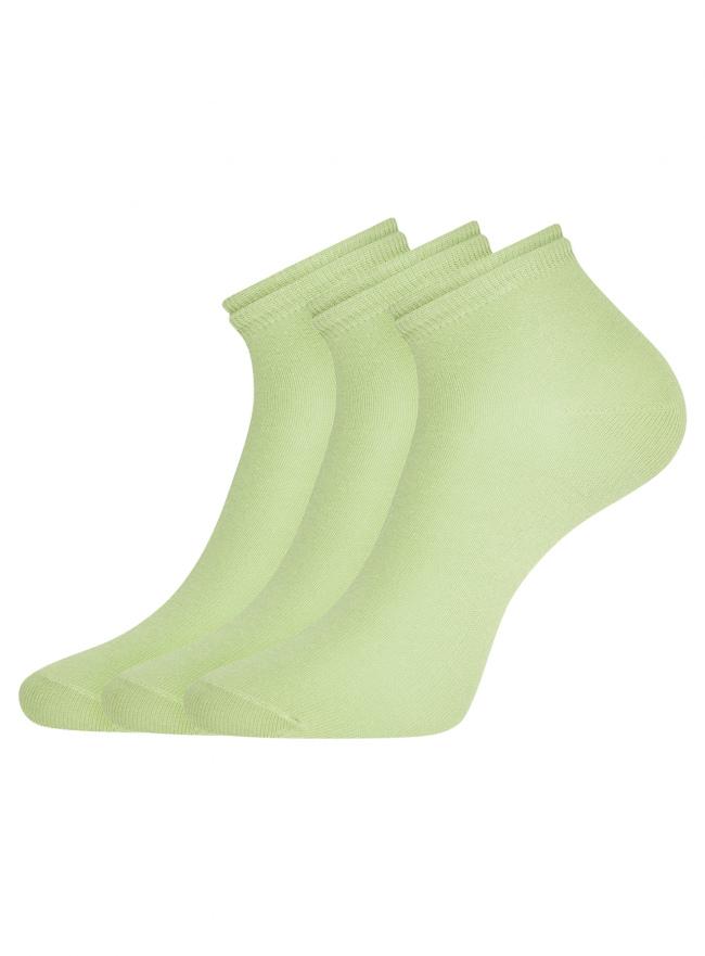 Комплект носков с двойной резинкой (3 пары) oodji для женщины (зеленый), 57102703T3/47469/22
