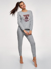 Пижама хлопковая с брюками oodji #SECTION_NAME# (серый), 56002224/46154/2049Z - вид 6