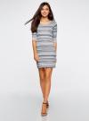 Платье жаккардовое с геометрическим узором oodji для женщины (синий), 14001064-5/46025/7079G - вид 2