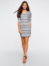 Платье жаккардовое с геометрическим узором oodji #SECTION_NAME# (синий), 14001064-5/46025/7079G - вид 2
