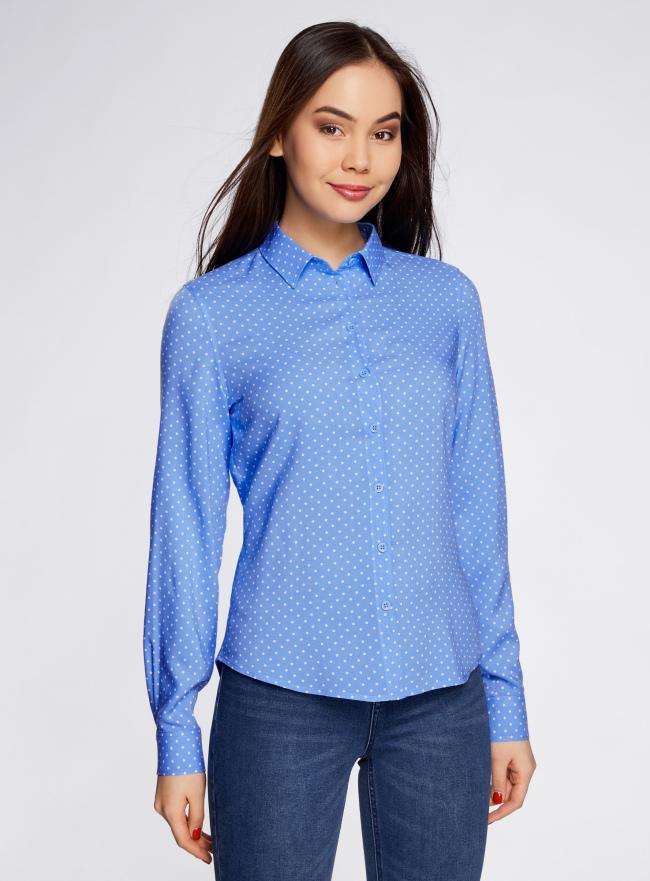 Блузка базовая из вискозы oodji для женщины (синий), 11411136B/26346/7510D