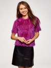 Блузка ворсистая с вырезом-капелькой на спине oodji #SECTION_NAME# (розовый), 14701049/46105/4700N - вид 2