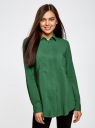 Блузка базовая из вискозы с карманами oodji #SECTION_NAME# (зеленый), 11400355-4/26346/6E00N - вид 2