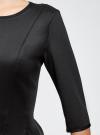 Платье трикотажное со складками на юбке oodji #SECTION_NAME# (черный), 14001148-1/33735/2900N - вид 5