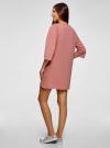Платье прямого силуэта со спущенной проймой oodji #SECTION_NAME# (розовый), 14008028/48940/4B00N - вид 3