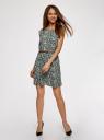 Платье принтованное из вискозы oodji #SECTION_NAME# (зеленый), 11910073-2/45470/6E12F - вид 2