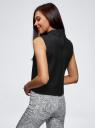 Топ прямого силуэта с молнией на спине oodji для женщины (черный), 12300106/33084/2900N