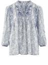Блузка свободного силуэта с этническим орнаментом oodji #SECTION_NAME# (белый), 11400440/17358/1073E