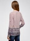Блузка прямого силуэта с V-образным вырезом oodji #SECTION_NAME# (розовый), 21400394-3/24681/4074E - вид 3
