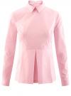 Блузка базовая с баской oodji #SECTION_NAME# (розовый), 11400444B/42083/4000N