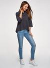 Рубашка свободного силуэта с асимметричным низом oodji для женщины (синий), 13K11002-3B/26357/7912D - вид 6
