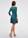 Платье трикотажное приталенное oodji для женщины (зеленый), 14011005-3/46148/6933F