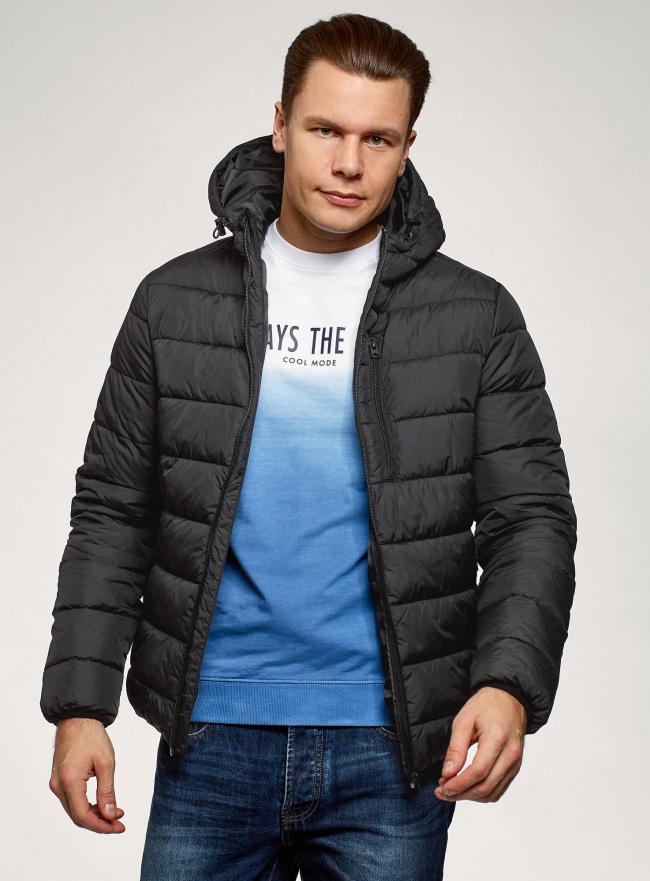 Куртка стеганая с капюшоном oodji для мужчины (черный), 1B112027M/33743/2900N
