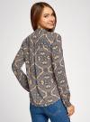 Блузка из вискозы принтованная с воротником-стойкой oodji #SECTION_NAME# (бежевый), 21411063-2/26346/3323E - вид 3