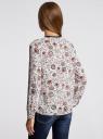 Блузка из струящейся ткани с контрастной отделкой oodji #SECTION_NAME# (белый), 11411059/43414/1245E - вид 3